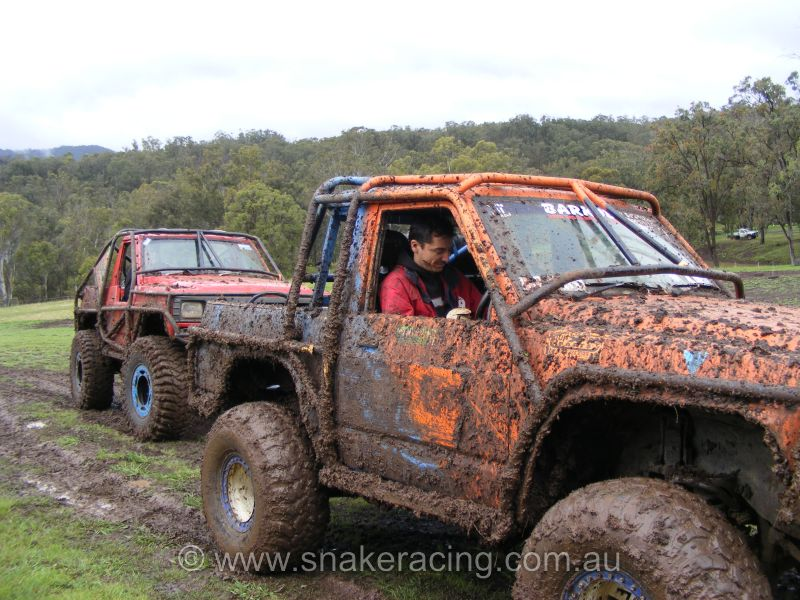 4x4 at the Logan challenge covered in mud