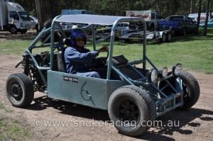 Evan in CamDak 2WD Buggy at starting line of Ringwood Khanacross