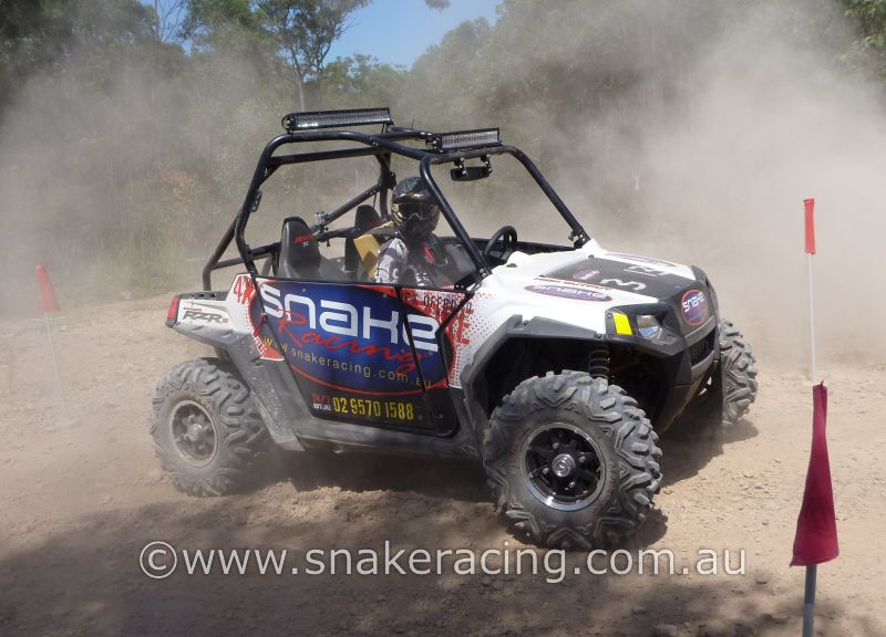 Snake Racing Polaris RZRs in stopping garage at Ringwood Hill Climb State Khanacross hosted by MG Car Club