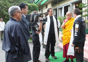 WorldRiders Stephane and Paul meet talking to the Dalai Lama