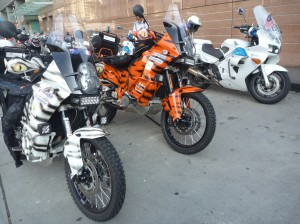 WorldRiderz KTM Adventure 900's parked in Malaysia showing Rigid Industiries LED light bars