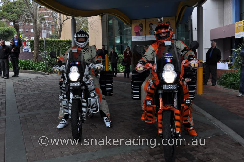 WorldRiderz KTM 900's showing Rigid LED Light bars as they depart Sydney Children's Hospital