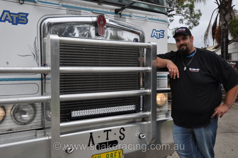 Adam Hall with his Kenworth Truck showing the Rigid Industries LED bar