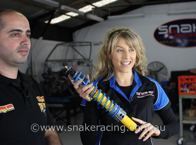 Tough Dog and Krystal from Snake Racing filming the Return to Center Steering Damper (Stabiliser)