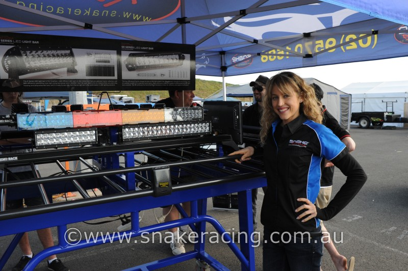 Krystal Harden from Snake Racing at 4WD Adventure Show Sydney LED light display