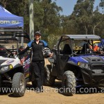 Krystal Harden and Nathan Chivers of Snake Racing Team with Polaris UTV at Khanacross off road racing