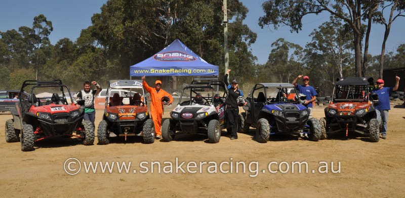 Polaris RZR, RZR S and XP 900 line up for Snake Racing at off road racing Khanacross Awaba