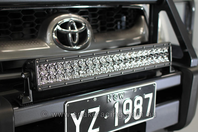 Led lights e series led light bars the brightest most efficient led light bar on rhino rack light bar on hilux bull bar aloadofball Images